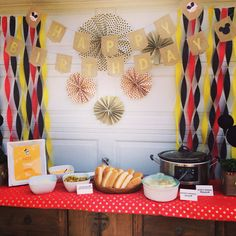 Hotdog bar at our Mickey Mouse Rustic themed kid birthday party
