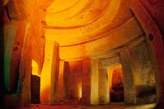 Hypogeum of Ħal-Saflieni  Unlike the other temples on our list, the Hypogeum in Malta—build around 2500 B.C.—was constructed underground. A UNESCO World Heritage Site, this enormous, subterranean labyrinth has false windows, trilithon doorways, decorative paintings, and carved-stone ceiling accents that mimic corbeled masonry.