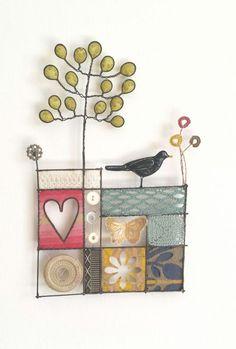 Liz Cooksey: Black Bird on Garden Wall | Made By Hand Online: textile art. Love it!