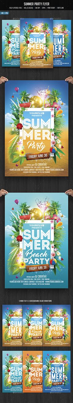 Summer Party Flyer Template PSD. Download here: http://graphicriver.net/item/summer-party/15777249?ref=ksioks