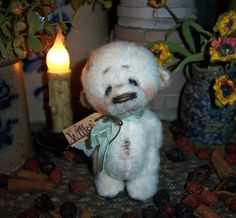"Primitive Halloween Ghost Polar Bear Vtg 4"" Doll Patti's Ratties Artist OOAK"
