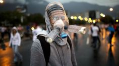 Venezuelan anti-government protesters are cobbling together home-brew gas masks from just about anyt