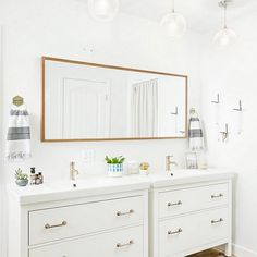 IKEA hack modern bathroom inspiration--guest bathroom - - Modifying an IKEA Hemnes vanity for a modern, cool guest bathroom with black and leather accents. Ikea Bathroom Vanity, Best Bathroom Vanities, Bathroom Renos, Small Bathroom, Bathroom Ideas, Bathroom Cabinets, Remodel Bathroom, Bathroom Organization, Bathroom Black
