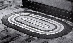 Crocheted Oval Rug pattern from Crocheted Rugs, originally published by Lily Mills Company, Book No. 1400.