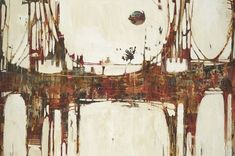 Landscape abstract painting in patches of warm tones of a bridge extending horizontally. Building Bridges Wall Art by Liz Jardine is an abstract take on a bridge. Find more bridge and abstract art at Great BIG Canvas.