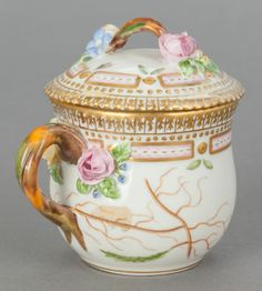 Ceramics & Porcelain, Continental:Contemporary   (1950 to present)  , A ROYAL COPENHAGEN FLORA DANICA COVERED MUSTARD POT. Circa1964. Marks:...