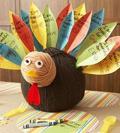I am thankful turkey for Thanksgiving centerpiece... each dinner guest adds a feather to the turkey