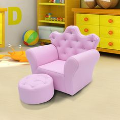 Sectional Sofas Children Kids Sofa Set Armchair Chair Seat With Free Footstool PU Leather Pink