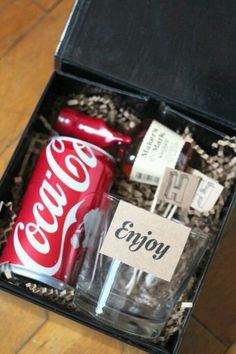 Grooms men gifts for wedding day from bride - Could make something similar for girls as well with mini champagne bottles.