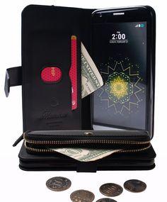Monica [ZIPPER POUCH] Premium Leather [STANDING] [CARD SLOT] Flip Cover Wallet #Case for LG G5 (Black)