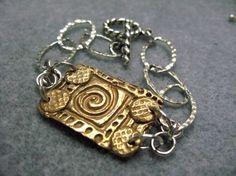 Bronze metal clay bracelet.