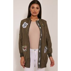 Kacee Khaki Longline Badge Detail Bomber Jacket-M/L ($50) ❤ liked on Polyvore featuring outerwear, jackets, green, khaki jacket, blouson jacket, khaki green jacket, longline jacket and bomber jacket