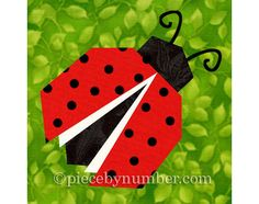 Ladybug quilt block pattern paper pieced by PieceByNumberQuilts