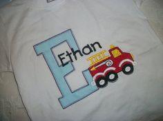Custom boutique birthday t shirt boys birthday initial monogrammed shirt firetruck fireman t 1st 2nd first tshirt tee onesie