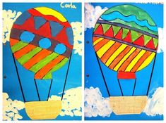 Image result for hot air balloons done in oil pastels Art For Kids, Crafts For Kids, Arts And Crafts, Tapas, School Decorations, Spring Art, Art Programs, Art Classroom, Elementary Art