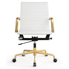 nice Midcentury Modern MEELANO 348-GD-WHI Office Chair in Vegan Leather, Gold/White