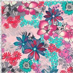 Tecido Estampado para Patchwork - Flower Multicolor Rose 02 (0,50x1,40) 100% Algodão  Fabricante:  Fabricart