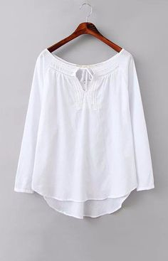 Three Quarter Sleeve White Blouse – Trendy Road