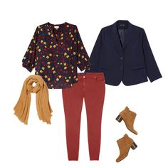 A great way to wear colored denim is to pair it with a printed top that echos the same hue! Try these red jeans with the red and yellow blouse, then tie the look together with a navy blazer and a mustard scarf. You'll look classic and polished but with a trendy twist!