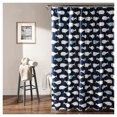 Let the kid inside come alive with this playful whale shower curtain. Perfect touch to any bathroom. Part of the Whale collection.