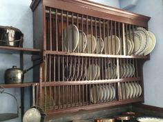 The kitchen at Lanhydrock Cornwall | plate rack & Monumental English Wood Plate Rack | Plate racks French country ...