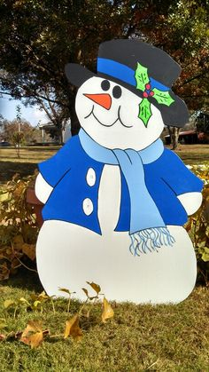 Winter Snowman. Christmas holiday yard decorations yard art.