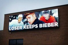 Ultimate Men's Hockey Stakes @ the USA vs Canada game.  Loser Keeps Bieber - Crap we lost the wrong game!