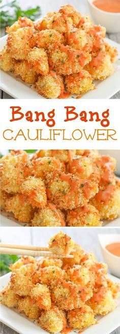 Bang Bang Cauliflower This sauce is so addicting and easy! Kirbie's Cravings The post Bang Bang Cauliflower appeared first on Garden ideas - Health and fitness Vegetable Dishes, Vegetable Recipes, Vegetable Samosa, Vegetable Spiralizer, Vegetable Casserole, Spiralizer Recipes, Vegetable Appetizers, Easy Vegetarian Appetizers, Vegetable Bread