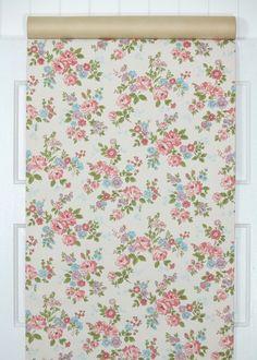 1960's Vintage Wallpaper Pink Aqua and by HannahsTreasures