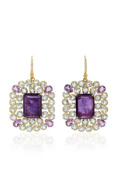 Amethyst and Blue Quartz Earrings by BOUNKIT
