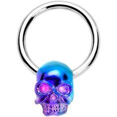 Violet Blue Wicked Skull Dangle Captive Ring  #piercing #nipplering #bodycandy $9.99