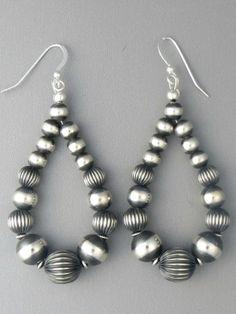Big Silver Bead Loop Earrings from Southwest Silver Gallery   http://www.southwestsilvergallery.com/AWSCategories/p/51/Silver-Earrings-No-Stones