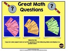 Looking for great math questions? Check out this freebie. It has over 25 questions that can be used during your math lesson. There are 2 versions included: a pocket chart version and a teacher friendly binder ring version. Math Teacher, Teaching Math, Teaching Ideas, Math Skills, Math Lessons, Math Discourse, Fifth Grade Math, Grade 3, Daily 5 Math
