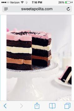 Inside out Neapolitan cake