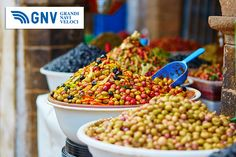 Selection of #pickled #olives on a #traditional #Moroccan #market (#souk) in #Essaouira, #Morocco. Discover #GNV routes from/to #Maghreb here: http://www.gnv.it/en/