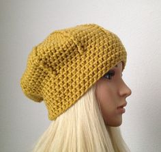 Cloche Beanie Crochet Hat in Golden Mustard Yellow by Madebyfate, $30.00