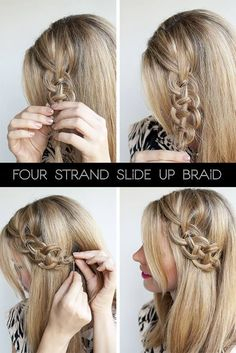I totally and utterly suck at hair, but I really want to try this: the four-strand slide-up braid