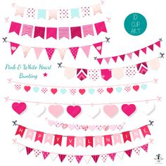 This Pink & White Heart bunting clipart set is a great addition to any Valentines Day craft. Use these to make pretty Valentine invitations, Valentines Day cards, digital scrapbooks and so much more. Why not combine these bunting banners with our other Valentine items to spread a little love.