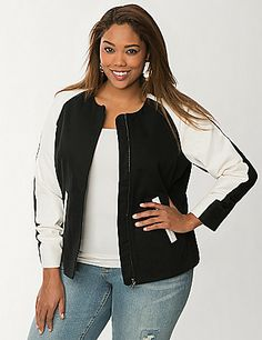 88b7cce6313 Canvas baseball jacket Curvy Girl Fashion