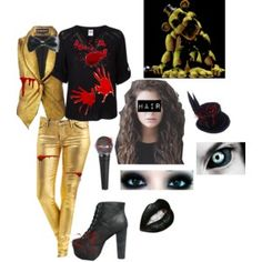 Outfit Golden Freddy from Five Nights At Freddy's by mandi-hatter on… Casual Cosplay, Cosplay Outfits, Anime Outfits, Cosplay Costumes, Cool Outfits, Freddy Costume, Fnaf Costume, Fnaf Cosplay, Freddy Clothing
