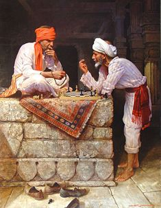 2 Arab men are playing a hard game of Chess in Cairo, Egypt!Egyptian Art - Arabic Art - Oriental Art - Handmade Oil Painting On Canvas Realistic Oil Painting, Artist Painting, Oil Painting On Canvas, Oil Paintings, Watercolor Painting, Watercolor Artists, Painting Lessons, Indian Paintings, Abstract Paintings