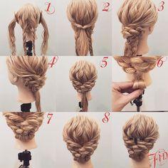 三つ編みシニヨンまとめ髪✨ 1,後ろはざっくり半分に分け三つ編みを作ります 2,横の髪を後ろで結びます 3,左側の三つ編みを右側にピンで留めます 4,右側の三つ編みを左側にピンで留めます 5,留めると写真のようになります 6,余った髪を写真のように丸めていきます 7,丸めた髪をピンで留めます 8,写真のようになります Fin,飾りをつけて崩したら完成です 参考になれば嬉しいです^ ^ #ヘア#hair#ヘアスタイル#hairstyle#サロンモデル#サロンモデル撮影#サロンモデル募集#撮影#UP#編み込み#三つ編み#フィッシュボーン#ロープ編み #アレンジ #結婚式 #SET#ヘアアレンジ#アレンジ動画#グラデーションカラー#アレンジ解説#香川県#高松市#美容室#美容院#美容師#berry