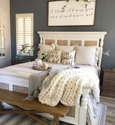 8 Most Simple Tips Can Change Your Life: Modern Master Bedroom Remodel bedroom remodel pictures.Simple Bedroom Remodel Gray bedroom remodel before and after rugs. Farmhouse Bedroom Decor, Home Decor Bedroom, Farmhouse Design, Rustic Farmhouse, Budget Bedroom, Bedroom Wall, Bedroom Stuff, Farmhouse Interior, Farmhouse Ideas