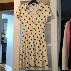 Kate Middleton Polka Dot Topshop Dress This is an authentic Topshop Polka Dot dress in the non-maternity version. This has been worn once, but is in like new condition.  Size 10 UK size 6 US. This is a great way to get the Kate Look! Get this playful piece for a deal!  Please message me for questions and Happy Poshing! Topshop Dresses