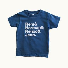 Rem & Norman & Renzo & Jean toddler t-shirt by Tiny Modernism