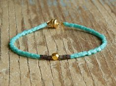 Tiny Turquoise, Peacock Blue and Gold Single Friendship Bracelet