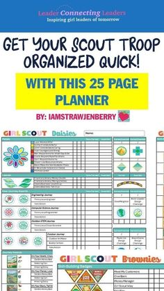 25 Page Leader Planner with Everything You Need to Plan Your Troop Year Girl Scout Daisy Activities, Girl Scout Crafts, Girl Scout Leader, Girl Scout Troop, Junior Girl Scout Badges, Cub Scouts, Brownie Girl Scouts, Girl Scout Cookies, John Maxwell