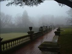 misty terrace view old westbury gardens