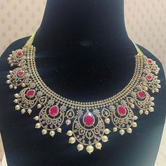 Diamond and ruby necklace designs by P Satyanarayan and Sons - Indian Jewellery Designs Diamond Choker, Diamond Bracelets, Diamond Jewellery, Cartier Bracelet, Diamond Pendant, Ruby Necklace Designs, Expensive Necklaces, Fine Jewelry, Women Jewelry