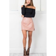 On Sale for $28.88 - Pink Slit Side Pu Bodycon Skirt